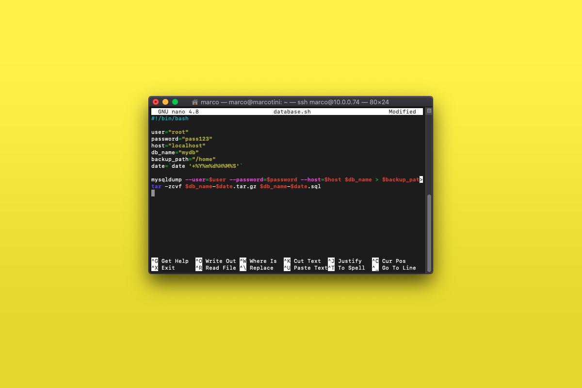 Come fare il backup a un database MySQL con uno script Bash