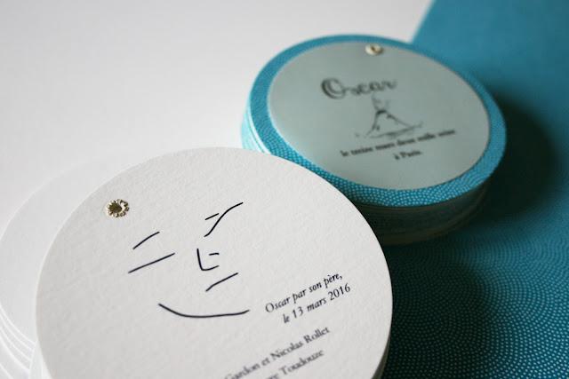 faire-part rond garçon fait main sur mesure papier japonais chiyogami atelier fleur de pommier birth announcement
