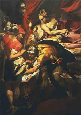 Atreo tramava la vendetta per l'adulterio tra Thyestes e Aerope raffigurato in questo dipinto di Nosadella. Uccise i figli di Thyestes e li cucinò, salvando le loro mani e teste. Non sorprende che Thyestes abbia ucciso Atreus, che era già il padre di Agamennone e Menelao.