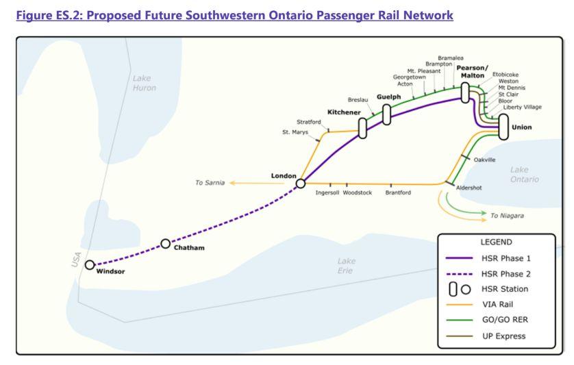 Railroad Map Windsor To Montreal Canada High Speed Rail Canada   Train à grande vitesse au Canada: ONTARIO