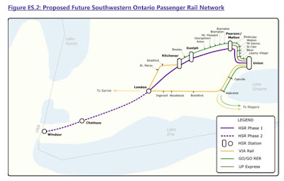 2017 Windsor - Quebec City High Speed Rail Map