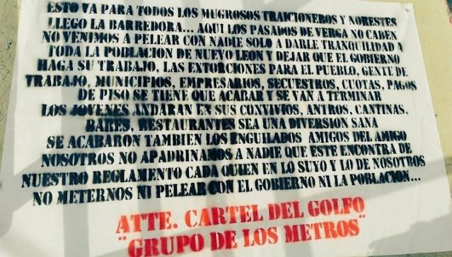 Aquí los pasados de ver.. no cabe, llego La Barredora para todos los mugrosos traicioneros y Norestes; El Cártel del Golfo deja Narcomanta en Monterrey