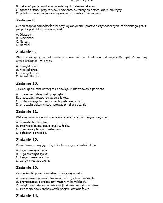 testy egzaminacyjne opiekun medyczny 2018