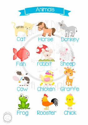 animales en ingles y español para niños