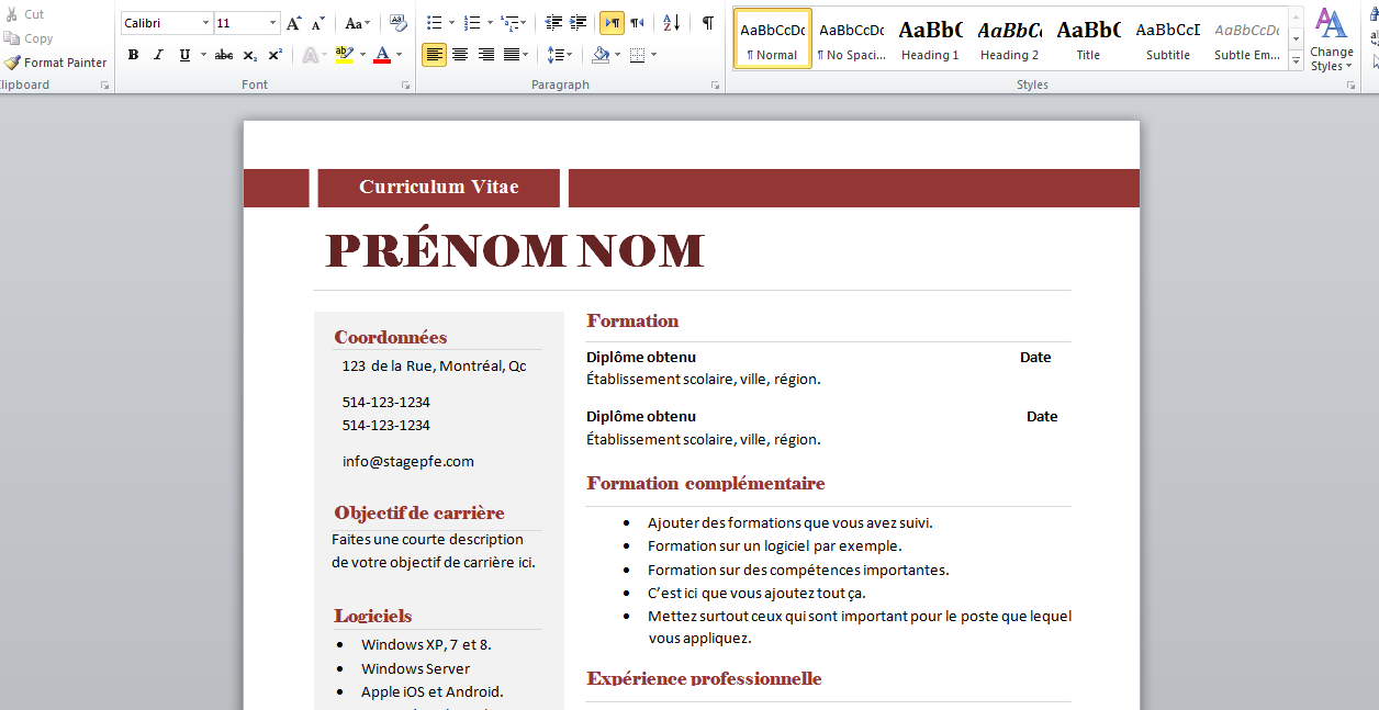 comment faire un cv sur microsoft word