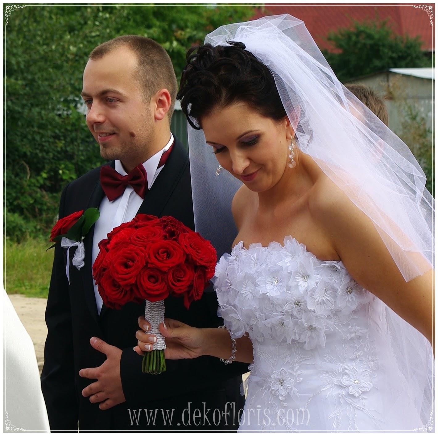 Bukiet ślubny czerwone róże Kłobuck -śląskie ;bukiety opolskie