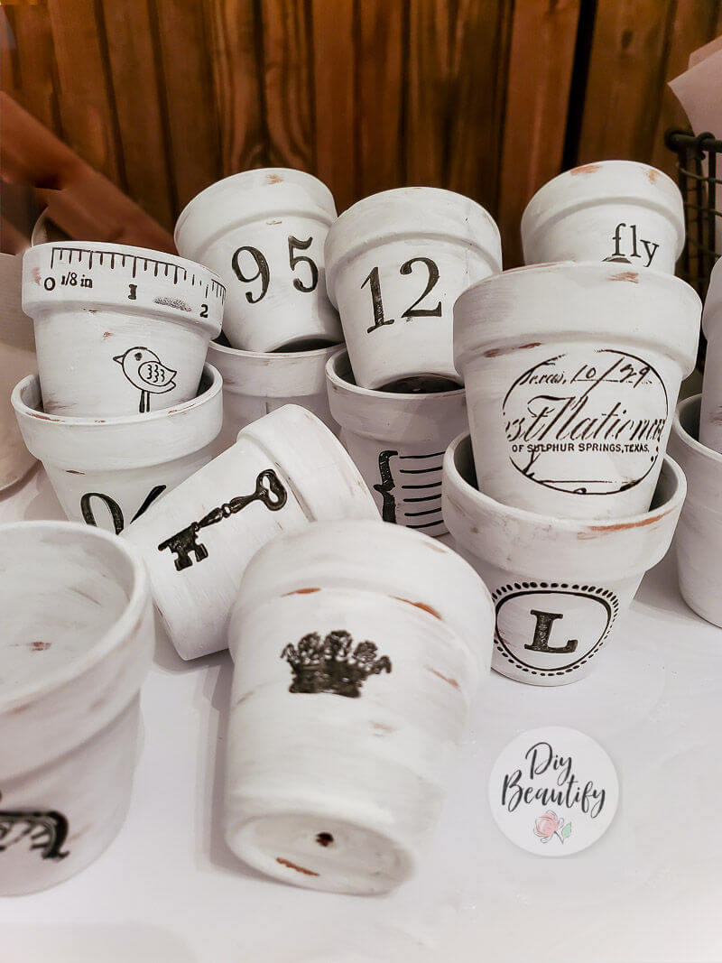 painted pots with stamped images