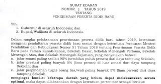 Surat Edaran Mendikbud Nomor 3 Tahun 2019 Terkait Revisi Sistem Zonasi PPDB