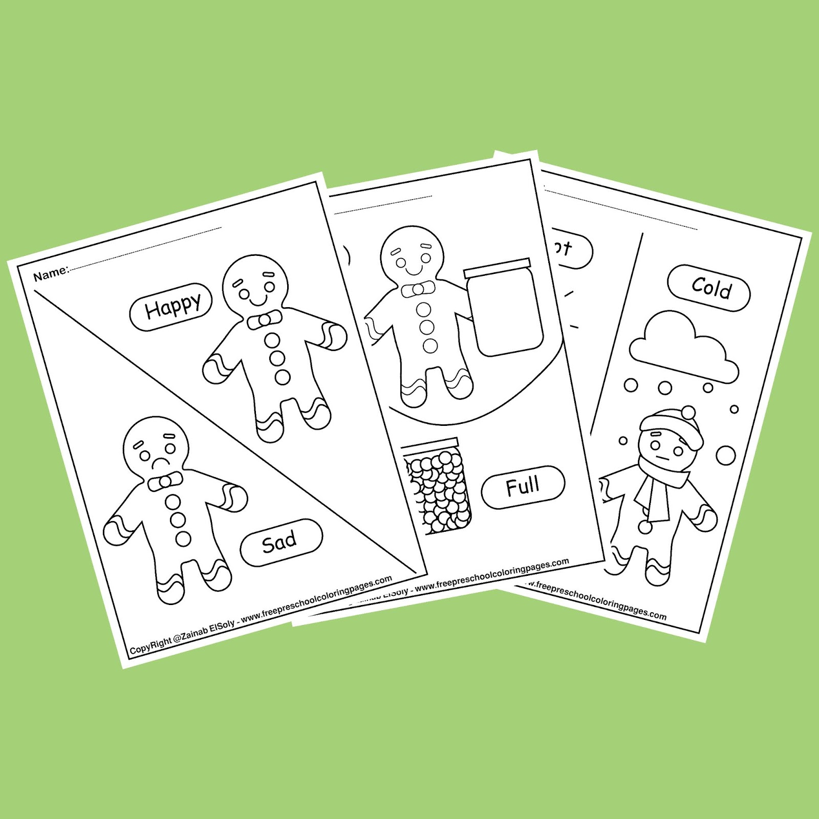 Gingerbread Man Opposites Coloring Pages For Kids