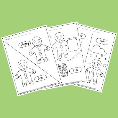 gingerbread man opposites for kids free preschool coloring pages ,opposites worksheets for kindergarten