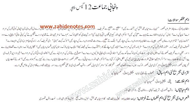 2nd year class 12 Fa part 2 Punjabi guess paper  2021