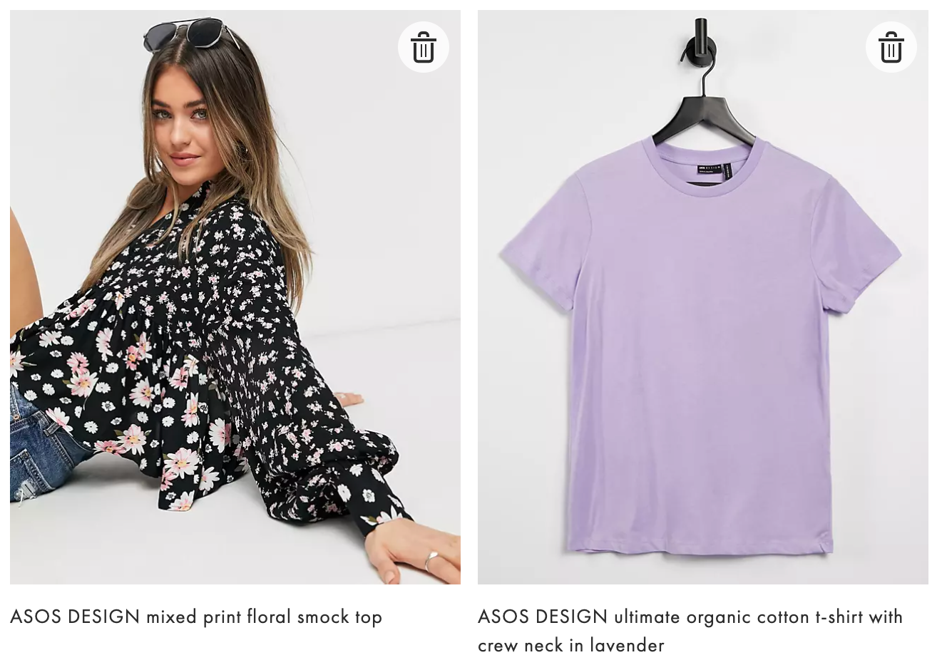 ASOS DESIGN mixed print floral smock top ASOS DESIGN ultimate organic cotton t-shirt with crew neck in lavender