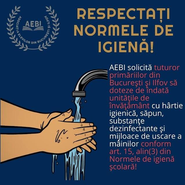 """AEBI: """"Legislaţia privind asigurarea normelor de igienă nu este respectată de către directorii școlilor"""""""
