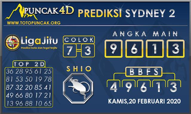 PREDIKSI TOGEL SYDNEY2 PUNCAK4D 20 FEBRUARI  2020