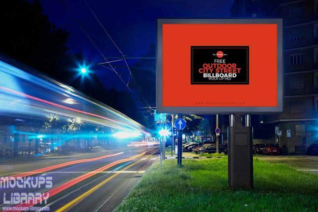 city street billboard mockup