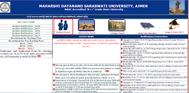 MDSU New Time Table B.A 1st Year