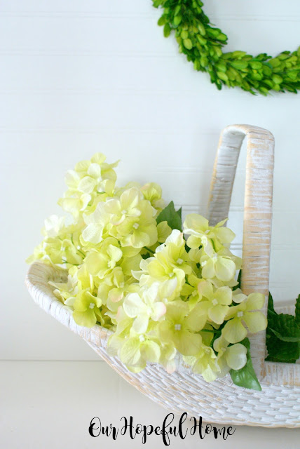 farmhouse decor decorating white garden trug hydrangeas