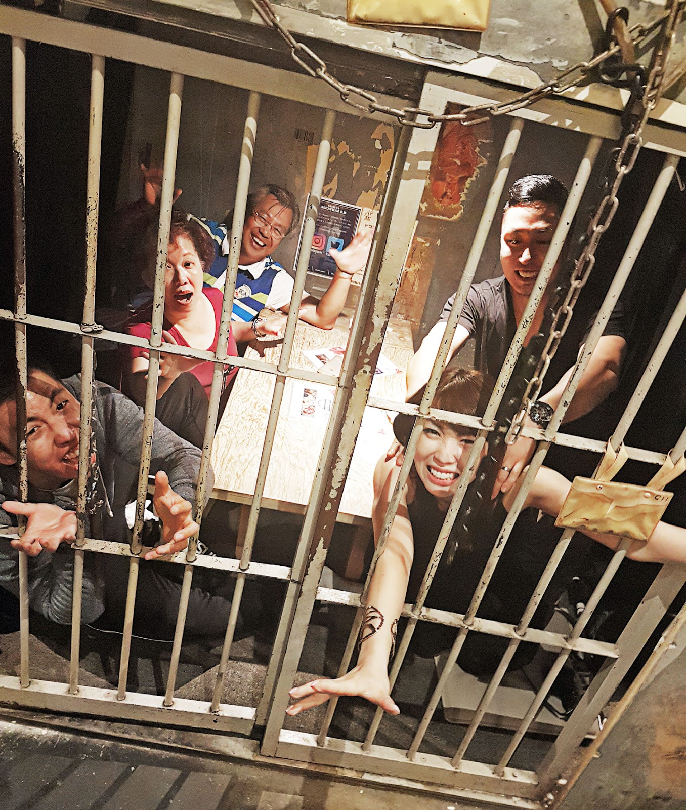 Dining in a prison cell at Alcatraz E.R - a medical themed restaurant in Shibuya, Tokyo