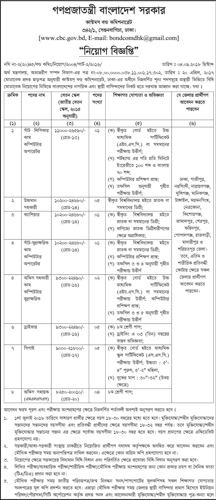 Customs Bond Commissionerate (CBC) Job Circular 2018