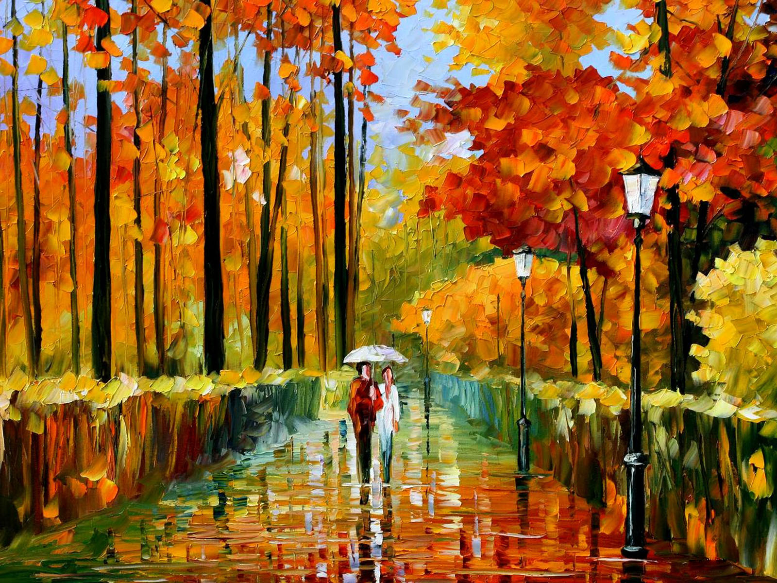 Wallpapers autumn oil paintings for Canvas art on sale