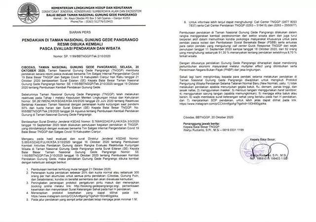 Surat Edaran Pembukaan Gunung Gede Pangrango - Taman Nasional Gunung Gede Pangrango