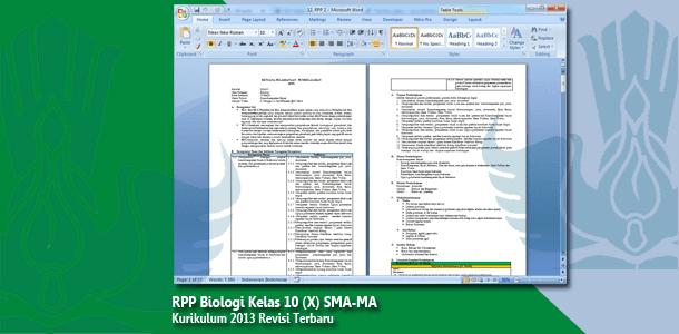 RPP Biologi Kelas 10 (X) SMA-MA Kurikulum 2013 Revisi Terbaru Tahun 2019-2020