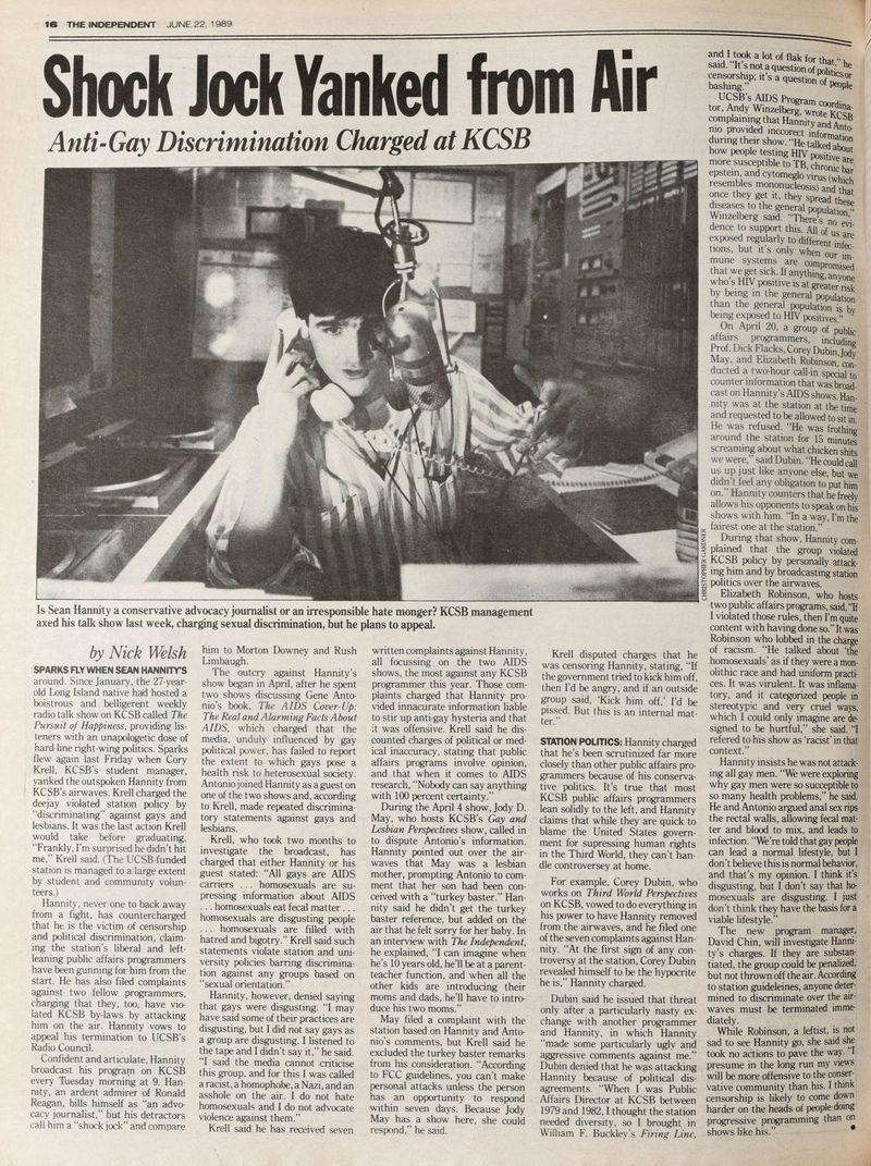 newspaper headline Hannity lost his job in Santa Barbara Independent, 1989 see Businessweek, May 1-7, 2017, p. 57