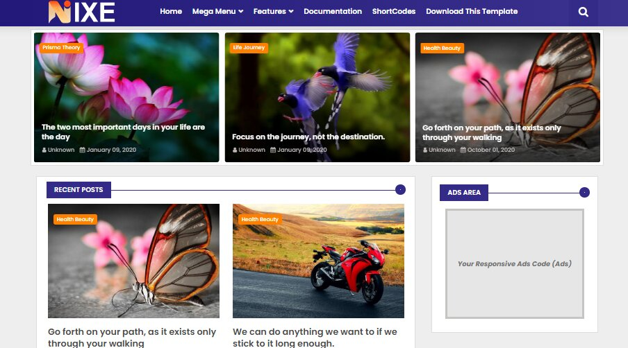 Nixe is a flat, clean, super flexible theme and fully reactive blogger template , fully suited for technology, news or blog websites.