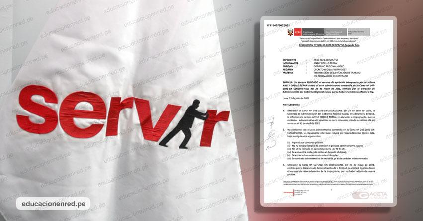 SERVIR: Cese de trabajador CAS será nulo si sus actividades no son transitorias o de suplencia, según Resolución N° 001430-2021-SERVIR/TSC-SEGUNDA-SALA