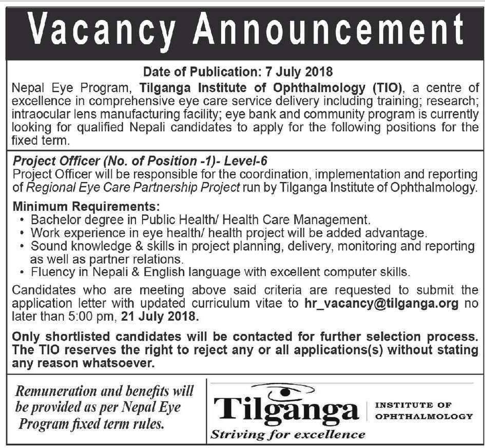 Tilganga institute of Ophthalmology vacancy