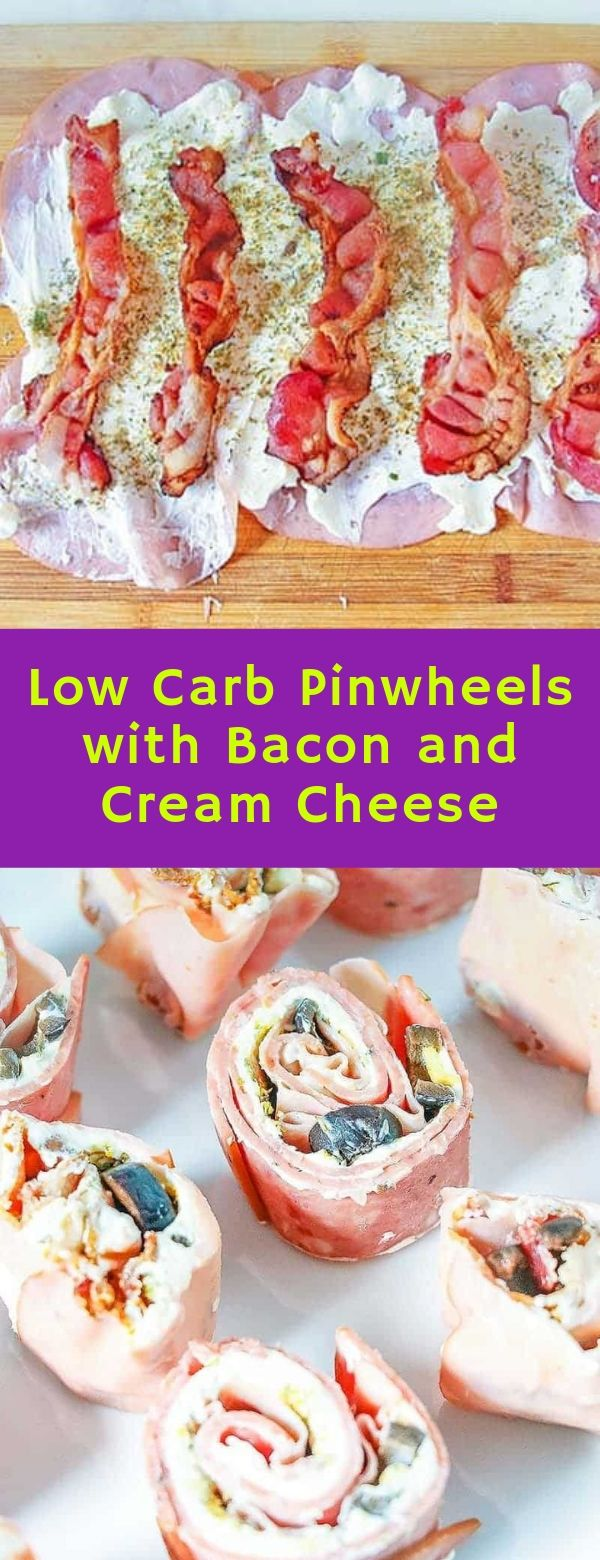 Low Carb Pinwheels with Bacon and Cream Cheese #lowcarb #bacon #creamcheese