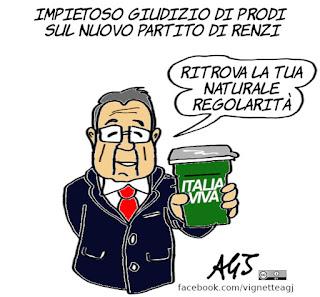 prodi, renzi, italia viva, scissione pd, politica, partiti personali, nuovi partiti, nuovo governo, vignetta, satira
