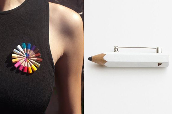 брошь из цветных карандашей