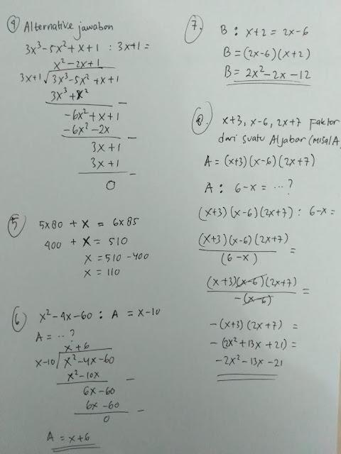 No 4- 8 Soal dan Jawaban Ayo Berlatih 3.4 Aljabar Matematika kelas 7 Halaman 231-232