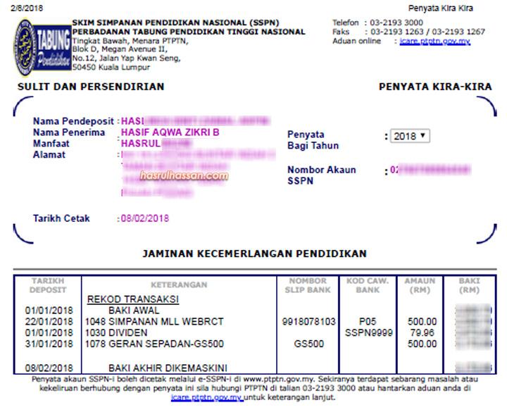 Dah dapat geran sepadan RM500 SSPN1M