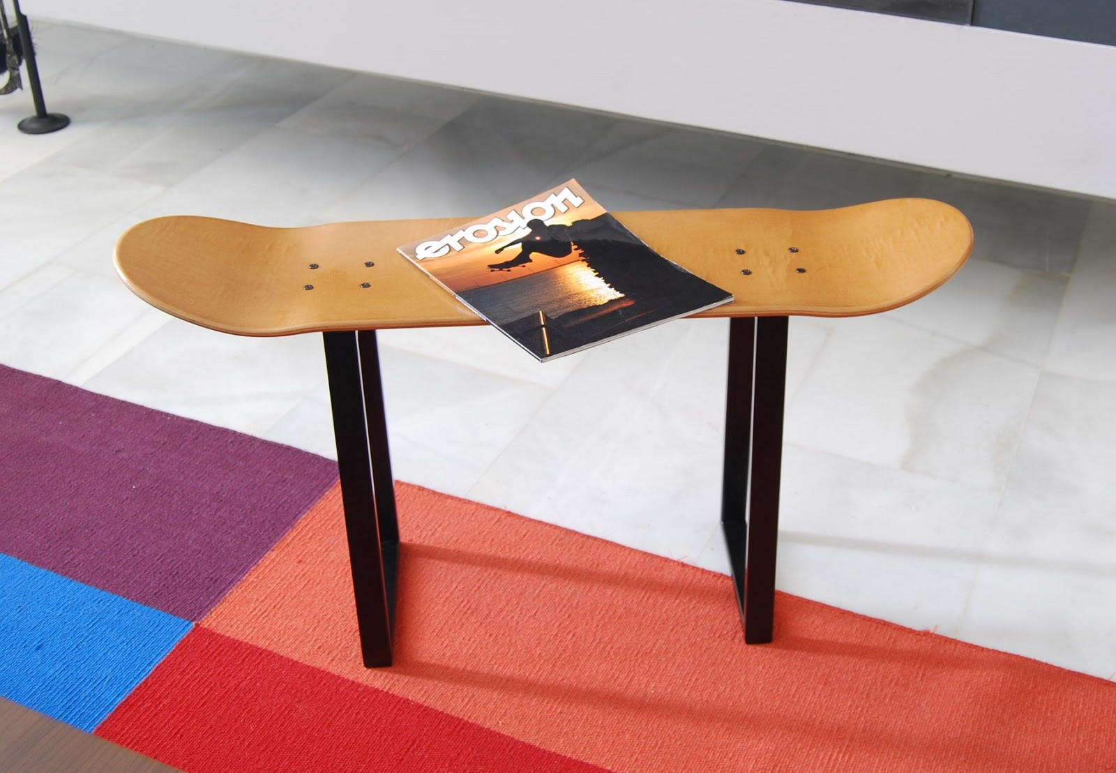 Skate Home Skateboarder Bench Stool Honey