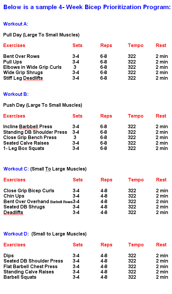Writing for your health: Biceps Exercises Chart For
