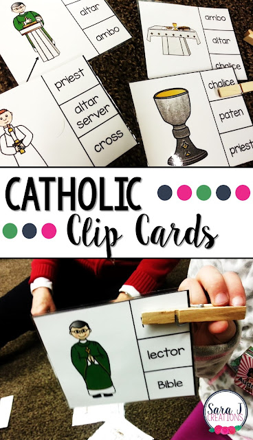 Four different ways to teach your students the names for the items commonly found during a Catholic Mass. Great for whole group, small groups, centers and more to reach all of your learners in a religious education, Catholic classroom or homeschool setting.