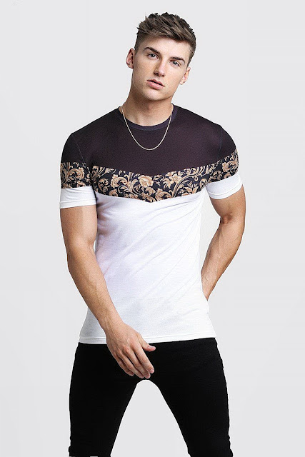 MENS Black Muscle Fit T-Shirt In Baroque