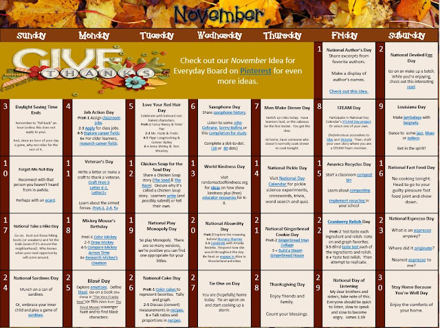 Academic, social emotional and just plain fun ideas for every day in November with accompanying link pairings.