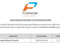 Jawatan Kosong Terkini 2019 di Puspakom Sdn Bhd - Tetap/ Kontrak