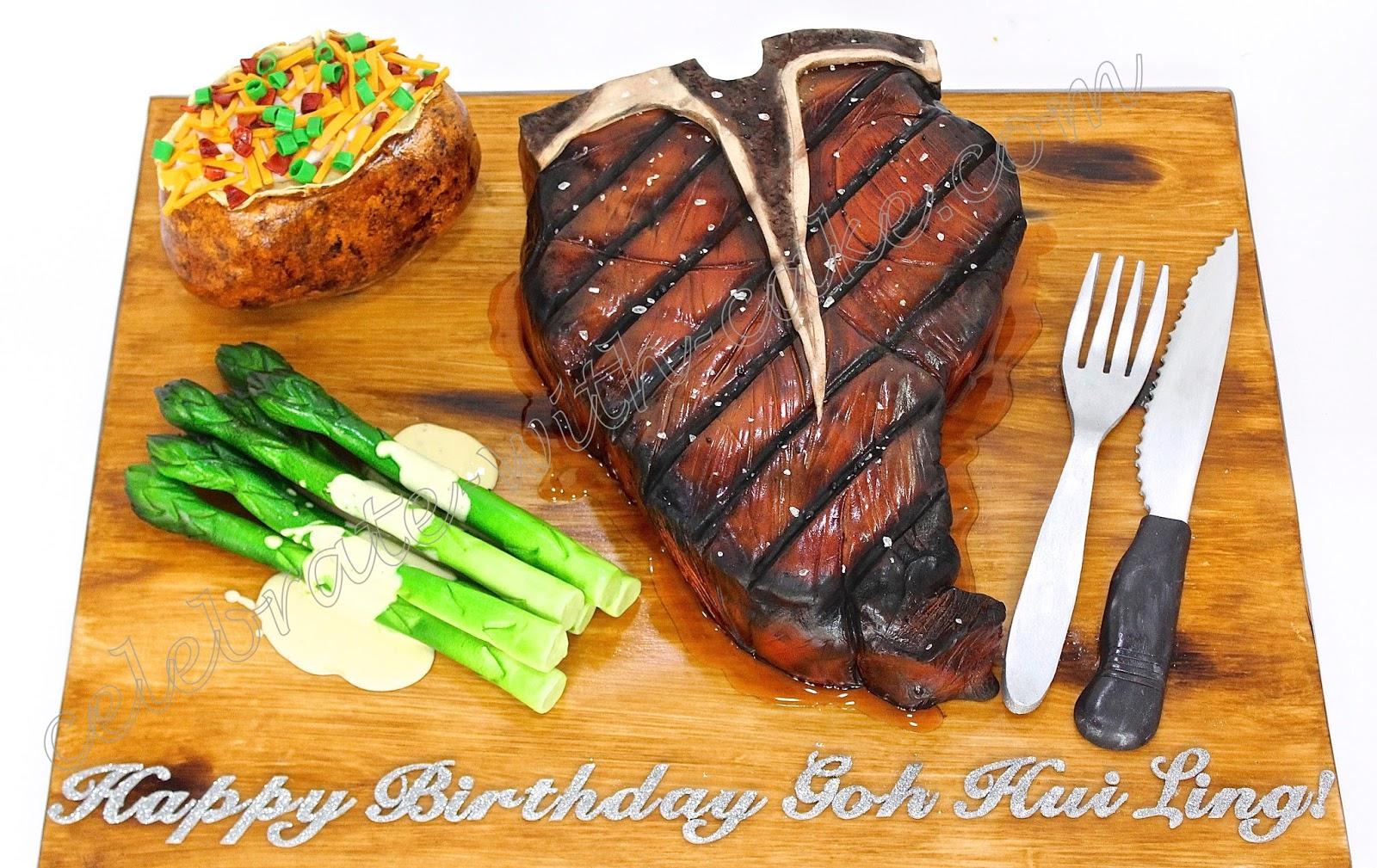Wondrous Celebrate With Cake T Bone Steak Asparagus And Potato Cake Funny Birthday Cards Online Inifofree Goldxyz