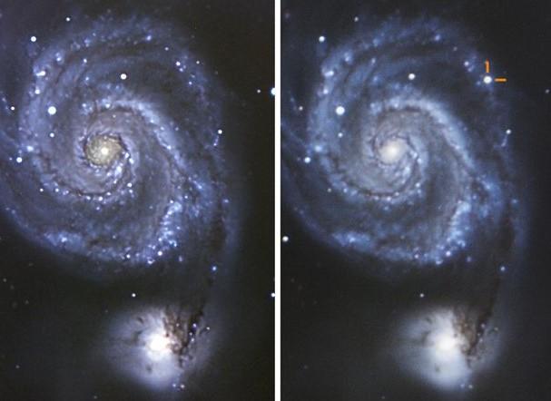imagen de una supernova situada en la galaxia del remolino