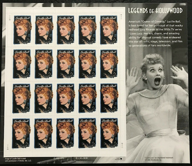 2001 34¢ - Lucille Ball - Legends Of Hollywood -sheet Of 20