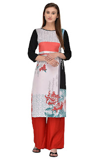 Kurti with Red and Black Front