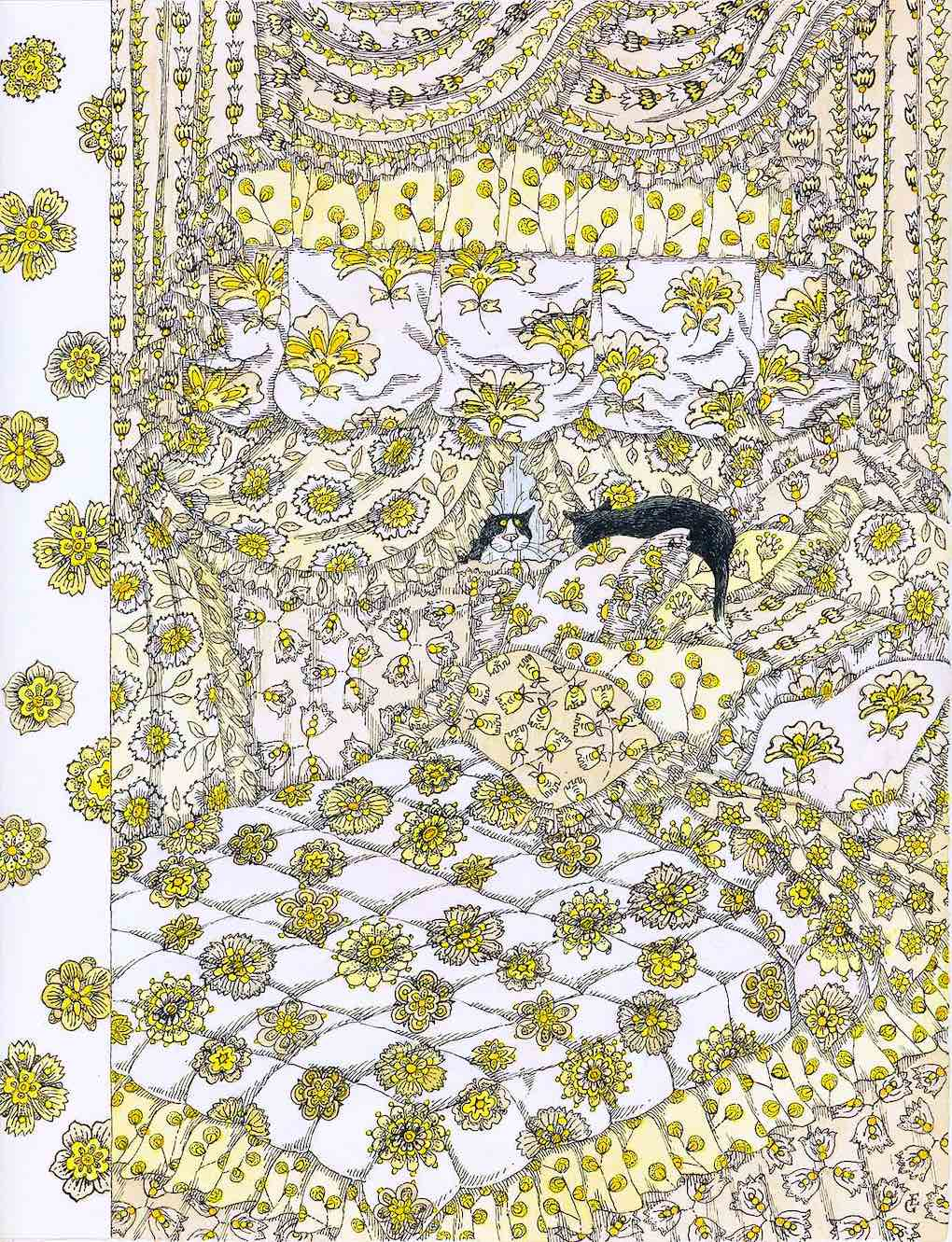 Edward Gorey, cats in a giant bed