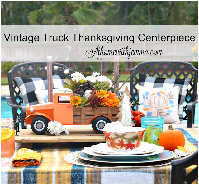 Thanksgiving, Centerpiece, Floral, Vintage, Truck, Flowers, Plaid, Outdoor