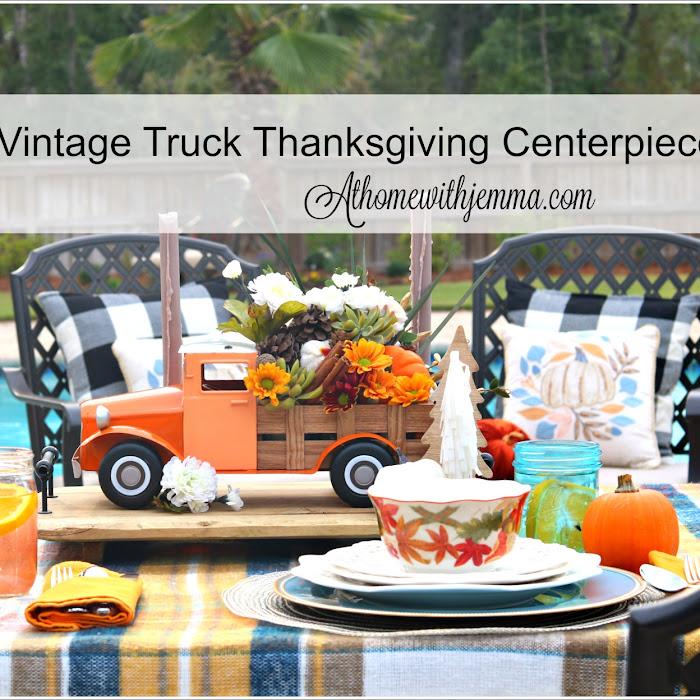 Vintage Flower Truck Thanksgiving Centerpiece