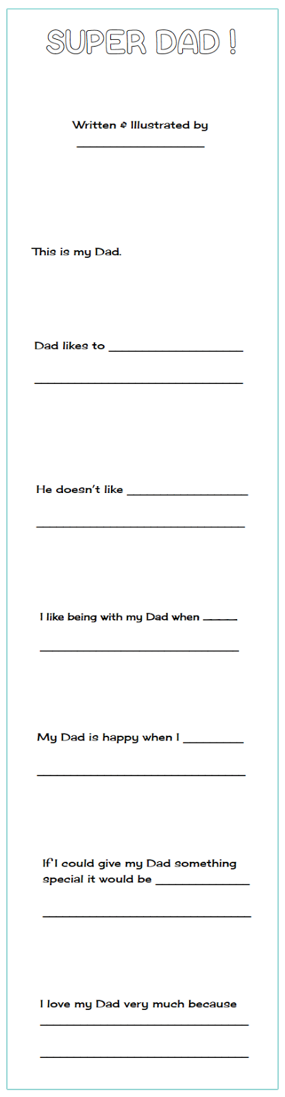 Free Father's Day writing booklet (includes Grandpa) and a Father's Day card template.