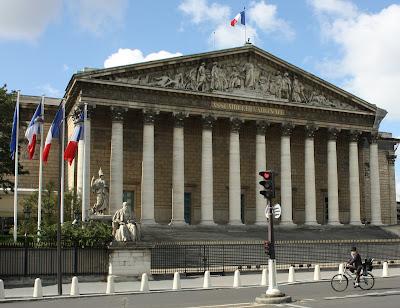 Palais Bourbon, seat of L'Assemblée Nationale, neoclassical, with 12 columns.